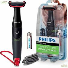 PHILIPS SERIE 1000 Bodygroom BATTERIA CORDLESS CORPO CAPELLI RASOIO TRIMMER-bg105