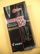 12 PILOT PRECISE V5 NEEDLEPOINT ROLLING BALL BLACK X FINE 35380 FREE SHIPPING