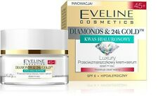 EVELINE DIAMONDS 24K GOLD LUXURY CREAM SERUM FACE DAY NIGHT ANTI WRINKLE 45+