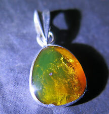 DOMINICAN CLEAR ORANGE GREEN AMBER .925 STERLING SILVER PENDANT 30mm
