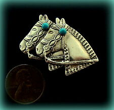 "Sterling Two Horse Heads with faux Turquoise PIN Jewelry  Vintage Western ""look"""