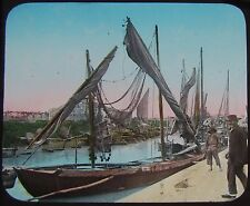 Glass Magic Lantern Slide FISHING BOATS CHIOGGIA VENICE  C1890 PHOTO ITALY