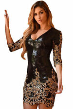 Black gold Sequins bodycon mini dress party wear size UK L 14