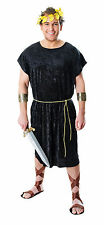ADULT MENS BLACK TOGA GLADIATOR ROMAN SPARTAN WARRIOR TUNIC COSTUME OUTFIT NEW