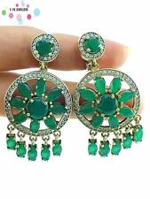 TURKISH 925 STERLING SILVER HANDMADE VICTORIAN JEWELRY EMERALD EARRINGS E2503