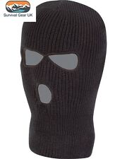 Black Knitted 3 Hole SAS Balaclava Army Ski Mask Winter Fishing Paintball Hat
