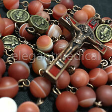 Rare Persian Red Agate Bead St. Saint Benedict catholic Rosary Necklace crucifix