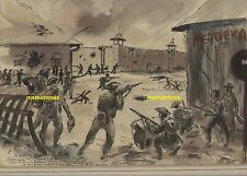 Australian Tony Rafty Watercolour Java Gurkhas Werfstraat Prison Rescue 1945