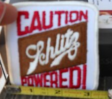 "VINTAGE SCHLITZ BEER POWERED SEW ON FABRIC PATCH  3"" WIDE 3-1/4-"" TALL OLD STOCK"