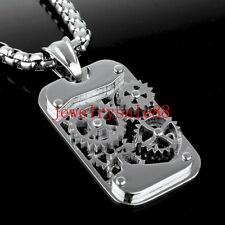 Fashion Men's Silver Stainless Steel Gear Pendant Jewelry Free Chain Necklace