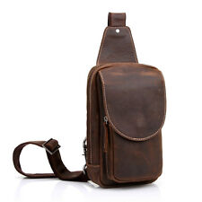 Handmade Genuine Leather Mens Womens Vintage Shoulder Messenger Crossbody Bag