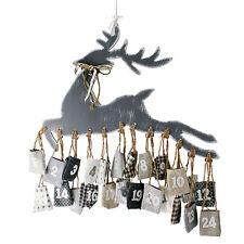 Adventskalender Rentier Elch Hirsch 24 Säckchen Weihnachten Advent Jutesack Holz