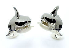 Deakin and Francis Sterling Silver Small Shark Head Cufflinks Diamond Eyes