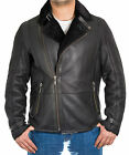Mens Black Shearling Sheepskin Crossover Zip Biker Aviator Bomber Flying Jacket