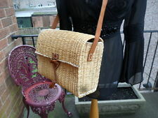 Lovely large vintage retro wicker box bag