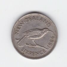 1964 New Zealand NZ Sixpence Coin  6P Z-964