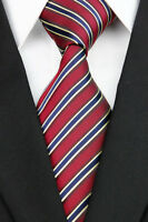UE0118 Red Navy Striped New Classic Jacquard Woven Silk Man's Tie Necktie