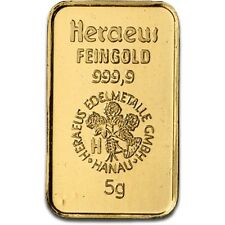 Lingot or 5 grammes or pur 24 carats 999/1000 Heraeus gold bar 5 gr