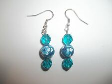 New Blue Floral Polymer Clay & Swarovski Crystal Beaded Dangling Earrings