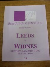 01/03/1987 Rugby League Programme: Leeds v Widnes [Challenge Cup] . Thanks for v