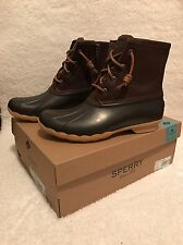 NEW Womens Sperry Saltwater Waterproof Duck Boots Tan/DK Brown STS91176 Sz 8M
