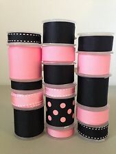 LOT OF 16 YDS. OF GROSGRAIN RIBBON  -  BLACK / PINK / BLACK POLKA   -  B01250