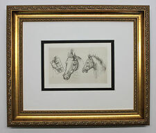 Leonardo da Vinci 1800s AMAZING HORSE STUDY Original DURAND Engraving FRAMED COA