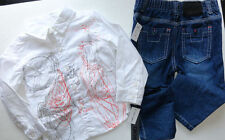 NEW DKNY 2PC SHIRT JEANS SET 24 MONTHS BOYS WHITE GRAPHIC TAGS AUTHENTIC
