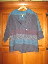 Ladies Sigrid Olsen Turquoise Blue Purple Collared Cardigan Sweater Size Large