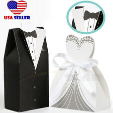 200x Wedding Party Favor Groom Tuxedo Bride Dress Unique Elegant Candy Gift Box
