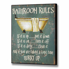 Large BATHROOM RULES Novelty Fun Wooden Wall Plaque / Sign