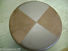 UGG STORE OTTOMAN ROUND BROWN SUEDE / LEATHER  SEAT W/ STAINLESS STEEL LEGS