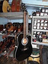 Johnson JG-650-TB Thinbody Acoustic Guitar with Pickup, Black