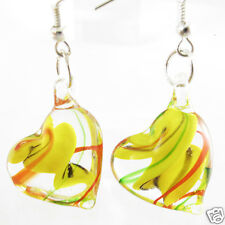 Classic Clear Heart Lampwork Murano Glass Dangle Hook Earrings Jewellry One Pair