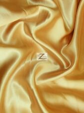 "SOLID SHINY BRIDAL SATIN FABRIC - Gold - 58""/60"" WIDTH SOLD BY THE YARD SILK"