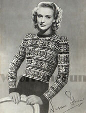 Vintage Knitting Pattern 1940s Lady's Fair Isle Jumper. 2 colours. charts.