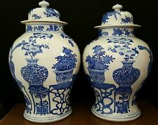 """VERY LARGE 19th C. KANGXI Blue & White Chinese Lidded Jars 17"""" ESTATE FIND Vases"""