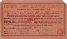 HOOD'S FREE SAMPLE COUPON - C.I. HOOD CO. Mfg. Chemists, LOWELL, MA