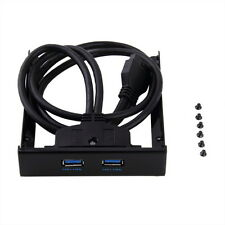 USB 3.0 20 Pin 2 Ports Front Panel Floppy Disk Bay Hub Bracket Cable 7@