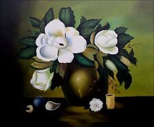 Stretched,  Original Hand Painted Oil Painting Vase of Magnolias 20x24in