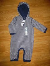 NWT NEW baby Gap Boy's 6-9 Months Cotton Knit Striped hooded Romper one Piece
