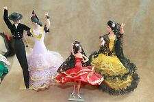 Lot of 3 MARIN Flamenco Dancers Plus 2 Vintage Spanish or Latin American Dolls