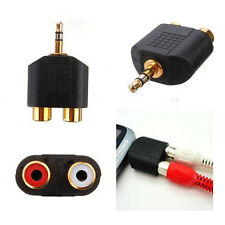 STEREO MALE 3.5MM JACK Y PLUG TO 2X RCA FEMALE AUDIO CONNECTOR, GOLD PLATED