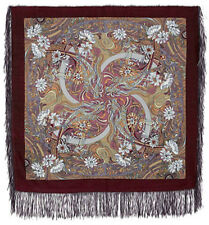 Shawl Paisley Authentic 100% Woolen Natural Silky Fringes Russian Floral Ethnic