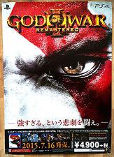 Dios de la guerra 3 Remasterizado Raro PS4 51.5 cm X 73 Cm Cartel Promo Japonés
