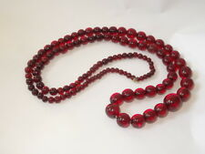 Vintage Graduated Cherry BAKELITE Bead Necklace 34 Inches Long