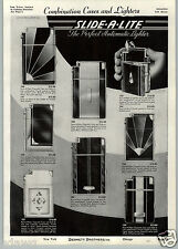 1941 PAPER AD Slide A Lite Cigarette Lighter Case Combo Art Deco Tortoise Shell