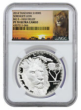 2014 Tanzania 1 Oz Silver Big 5 - Serengeti Lion 1000S NGC PF70 HR UC SKU36168