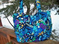 VERA BRADLEY Pleated Tote Bag Large Purse Midnight Blues Shopping Travel College