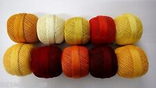 SET LOT of 10 SHADES OF YELLOW Cotton Yarn Thread Crochet Knitting Embroidery